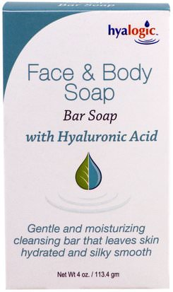Salud, Mujeres, Piel, Belleza, Productos Tópicos Del Acné Hyalogic LLC, Face & Body Soap, With Hyaluronic Acid, 4 oz (113.4 g)