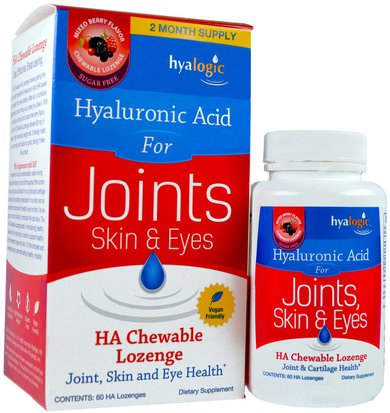 Salud, Hueso, Osteoporosis, Anti Envejecimiento, Salud De Las Articulaciones Hyalogic LLC, Hyaluronic Acid For Joints, Skin & Eyes, Mixed Berry Flavor, 60 HA Chewable Lozenges
