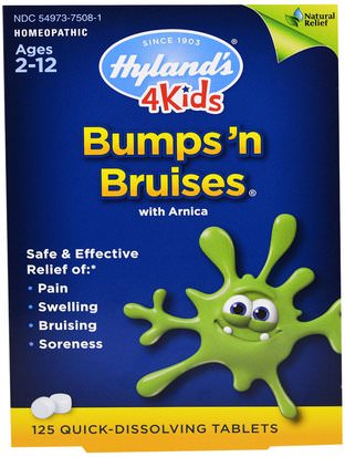 Suplementos, Homeopatía, Árnica Montana, Árnica Hylands, 4Kids, Bumps n Bruises with Arnica, 125 Quick-Dissolving Tablets