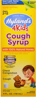 La Salud De Los Niños, La Tos Fría De La Gripe, La Tos De La Homeopatía Y La Gripe Hylands, Cough Syrup, 4 Kids, with 100% Natural Honey, 4 fl oz (118 ml)