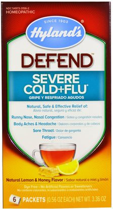 Salud, Gripe Fría Y Viral, Resfriado Y Gripe, Suplementos, Homeopatía, Tos, Resfriado Y Gripe Hylands, Defend, Severe Cold+Flu, Natural Lemon & Honey Flavor, 6 Packets, 0.56 oz Each