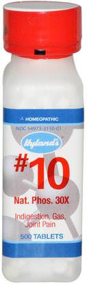 Suplementos, Homeopatía, Salud Hylands, #10, Nat. Phos. 30X, 500 Tablets