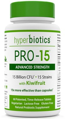 Suplementos, Probióticos, Digestión, Estómago Hyperbiotics, PRO - 15, Advanced Strength, With Kiwifruit, 60 Time-Release Tablets