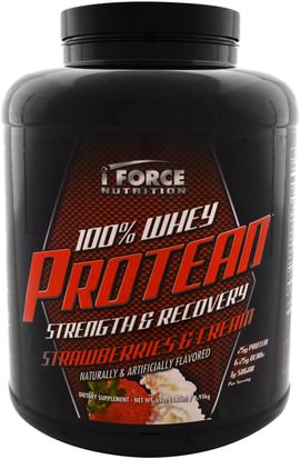Deportes, Suplementos, Proteína De Suero De Leche iForce Nutrition, 100% Whey Protean, Strawberries & Cream, 69 oz (1.95 kg)