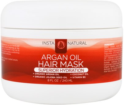Baño, Belleza, Cabello, Cuero Cabelludo, Argán InstaNatural, Argan Oil Hair Mask, Deep Conditioner, 8 fl oz (240 ml)