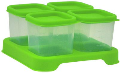 La Salud De Los Niños, Los Alimentos De Los Niños iPlay Inc., Green Sprouts, Fresh Baby Food Unbreakable Cubes, Green Set, 4 Pack- 4 oz (118ml) Each