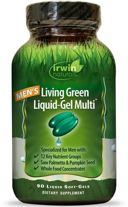 Vitaminas, Hombres Multivitaminas, Hombres, Próstata Irwin Naturals, Mens Living Green Liquid-Gel Multi, 90 Liquid Soft-Gels