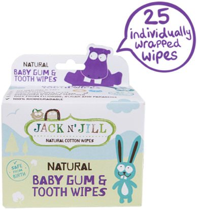 Salud De Los Niños, Cuidado Oral Del Bebé Jack n Jill, Natural Baby Gum & Tooth Wipes, 25 Individually Wrapped Wipes