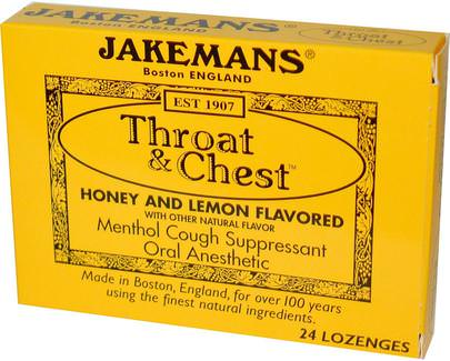 Salud, Gripe Fría Y Viral, Spray Para El Cuidado De La Garganta, Pastillas Para La Tos Jakemans, Throat & Chest, Honey and Lemon Flavored, 24 Lozenges