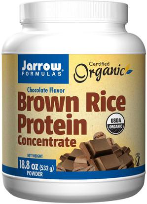 Suplementos, Proteína, Proteína De Arroz En Polvo Jarrow Formulas, Organic, Brown Rice Protein Concentrate, Chocolate Flavor, Powder, 18.8 oz (532 g)