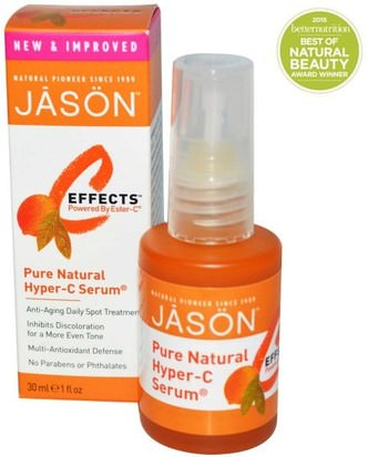 Salud, Mujeres, Cremas De Ácido Alfa Lipoico Aerosol, Lociones Cremas, Sueros Jason Natural, C-Effects, Hyper-C Serum, Anti-Aging Daily Spot Treatment, 1 fl oz (30 ml)