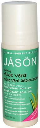 Baño, Belleza, Desodorante, Desodorante Roll-On Jason Natural, Deodorant Roll-On, Aloe Vera, 3 fl oz (89 ml)
