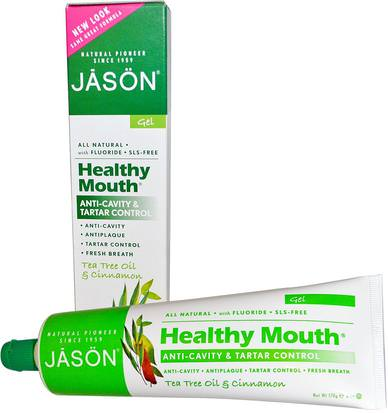 Baño, Belleza, Pasta De Dientes Jason Natural, Healthy Mouth, Anti-Cavity & Tartar Control Gel, Tea Tree Oil & Cinnamon, 6 oz (170 g)