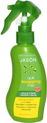 Repelente Para Insectos, Insectos Y Animales Domésticos, Repelente Para Insectos Para Niños Y Bebés Jason Natural, Quit Bugging Me!, Natural Insect Repellant Spray, 4.5 fl oz (133 ml)