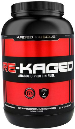 Deportes, Músculo, Proteína, Proteína Del Deporte Kaged Muscle, Re-Kaged, Anabolic Protein Fuel, Strawberry Lemonade, 2.07 lbs (940 g)