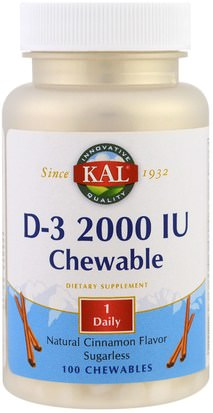 Vitaminas, Vitamina D3 KAL, D-3 Chewable, Natural Cinnamon Flavor, 2000 IU, 100 Chewables