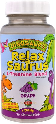 Suplementos, L Theanine KAL, Dinosaurs, Relax-a-Saurus, L-Theanine Blend, Grape, 30 Chewables