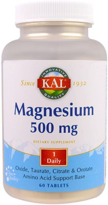 Suplementos, Minerales, Magnesio KAL, Magnesium, 500 mg, 60 Tablets