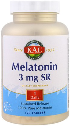 Suplementos, Melatonina 3 Mg KAL, Melatonin SR, 3 mg, 120 Tablets
