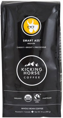 Comida, Café, Té De Café Molido Y Bebidas Kicking Horse, Smart Ass, Medium, Whole Bean Coffee, 10 oz (284 g)
