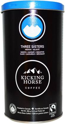 Comida, Café, Café Integral, Keto Amigable Kicking Horse, Three Sisters, Medium, Whole Bean Coffee, 12.3 oz (350 g)