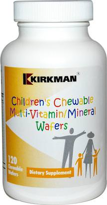 Vitaminas, Multivitaminas, Niños Multivitaminas Kirkman Labs, Childrens Chewable Multi-Vitamin/Mineral Wafers, 120 Chewable Wafers