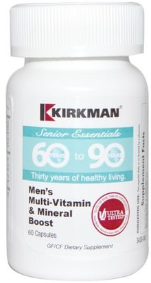 Vitaminas, Multivitaminas - Personas Mayores, Hombres Multivitaminas Kirkman Labs, Senior Essentials 60 to 90 Years, Mens Multi-Vitamin & Mineral Boost, 60 Capsules