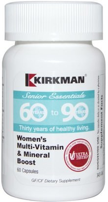 Vitaminas, Mujeres Multivitaminas Kirkman Labs, Senior Essentials 60 to 90 Years, Womens Multi-Vitamin & Mineral Boost, 60 Capsules