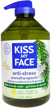 Baño, Belleza, Gel De Ducha, Cuidado Del Cuerpo Kiss My Face, Anti-Stress, Bath & Body Wash, Calming Woodland Pine & Ginseng, 32 fl oz (946 ml)