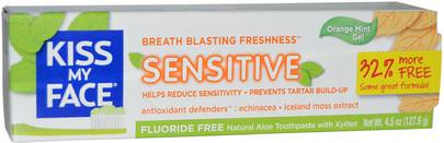 Baño, Belleza, Pasta De Dientes Kiss My Face, Natural Aloe Toothpaste, Sensitive, Flouride Free, Orange Mint Gel, 4.5 oz (127.6 g)