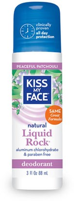 Baño, Belleza, Desodorante, Desodorante Roll-On, Cuidado Del Cuerpo Kiss My Face, Natural Liquid Rock Deodorant, Peaceful Patchouli, 3 fl oz (88 ml)