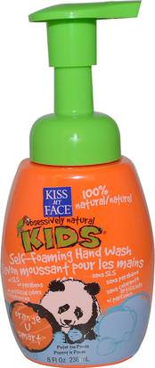 Baño, Belleza, Jabón, Jabón Espumoso Kiss My Face, Obsessively Natural Kids, Self-Foaming Hand Wash, Orange U Smart, 8 fl oz (236 ml)