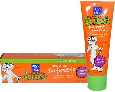 Baño, Belleza, Pasta De Dientes, Cuidado Oral Del Bebé Kiss My Face, Obsessively Natural Kids, Toothpaste with Fluoride, Berry Smart, 4 oz (113 g)