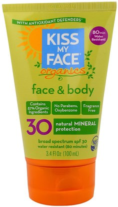 Baño, Belleza, Protector Solar, Spf 30-45 Kiss My Face, Organics, Face & Body Mineral Sunscreen, SPF 30, 3.4 fl oz (100 ml)
