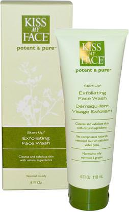 Belleza, Cuidado Facial, Limpiadores Faciales, Tipo De Piel Combinada Con Pieles Grasas Kiss My Face, Start Up, Exfoliating Face Wash, 4 fl oz (118 ml)