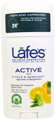 Baño, Belleza, Desodorante Lafes Natural Body Care, Active, Odor Protection Invisible Solid, Citrus & Bergamot, 2.25 oz (63 g)