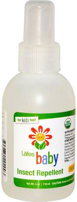 Repelente Para Insectos, Insectos Y Casa, Baño Para Niños Lafes Natural Body Care, Baby, Insect Repellent, 4 oz (118 ml)