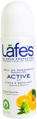 Baño, Belleza, Desodorante, Desodorante Roll-On Lafes Natural Body Care, Roll On Deodorant, Active, Ctirus & Bergamot, 2.5 oz (71 g)