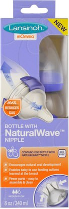 La Salud De Los Niños, La Alimentación Del Bebé Lansinoh, Natural Wave Nipple Bottle, Medium Flow, 8 oz (240 ml)