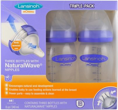 La Salud De Los Niños, La Alimentación Del Bebé Lansinoh, Natural Wave Nipple Bottles, Medium Flow, 3 Bottles, 8 oz (240 ml) Each