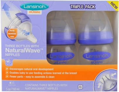La Salud De Los Niños, La Alimentación Del Bebé Lansinoh, Natural Wave Nipple Bottles, Slow Flow, 3 Bottles, 5 oz (160 ml) Each