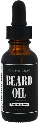 Salud, Hombres, Afeitado Leven Rose, 100% Pure Organic Beard Oil, Fragrance Free, 1 fl oz (30 ml)