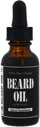 Salud, Hombres, Afeitado Leven Rose, 100% Pure Organic Beard Oil, Spiced Sandalwood, 1 fl oz (30 ml)