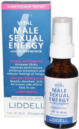Salud, Hombres, Gel Y Cremas De Testosterona, Testosterona Liddell, Vital Male Sexual Energy with Testosterone, 1.0 fl oz (30 ml)