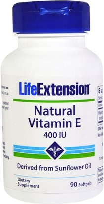 Vitaminas, Vitamina E Life Extension, Natural Vitamin E, 400 IU, 90 Softgels