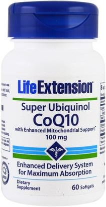 Suplementos, Antioxidantes, Ubiquinol Qh Life Extension, Super Ubiquinol CoQ10 With Enhanced Mitochondrial Support, 100 mg, 60 Softgels