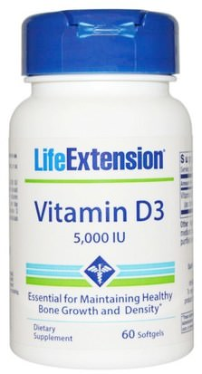 Vitaminas, Vitamina D3 Life Extension, Vitamin D3, 5,000 IU, 60 Softgels