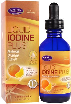 Suplementos, Minerales, Yodo Life Flo Health, Liquid Iodine Plus Liquid Drops, Natural Orange Flavor, 2 fl oz (59 ml)