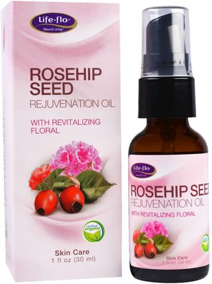 Baño, Belleza, Aceites Esenciales De Aromaterapia, Aceite De Semilla De Rosa Mosqueta, Salud, Piel, Aceites Para El Cuidado Del Cuerpo Life Flo Health, Rosehip Seed Rejuvenation Oil with Revitalizing Floral, 1 fl oz (30 ml)