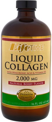 Salud, Hueso, Osteoporosis, Colágeno Life Time, Liquid Collagen with Hyaluronic Acid & Vitamin D3, Natural Berry Flavor, 2,000 mg, 16 fl. oz (473 ml)